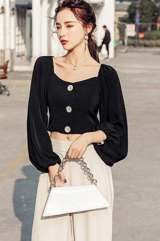 BACKORDER - Sorrenta Sleeve Button Crop Top in Black
