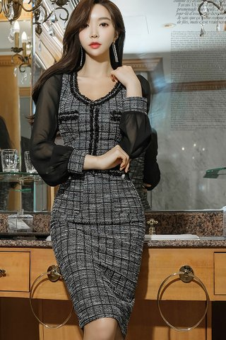 BACKORDER - Suzy Mesh Sleeve Tweed Dress