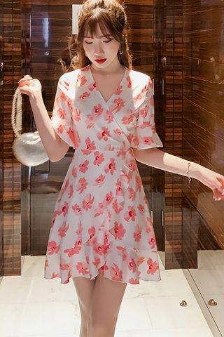 BACKORDER - Valentina Floral Print Ruffle Hem Dress