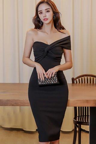 BACKORDER - Verona One Shoulder Knot Dress in Black