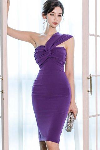BACKORDER - Verona One Shoulder Knot Dress in Purple