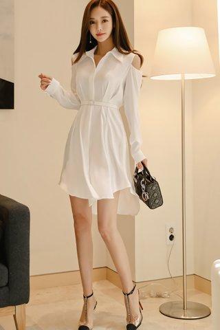 BACKORDER - Wilma Cutout Shoulder Shirt Dress