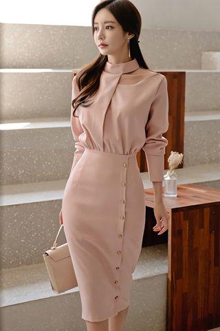 BACKORDER - Yako High Neck Foldover Dress