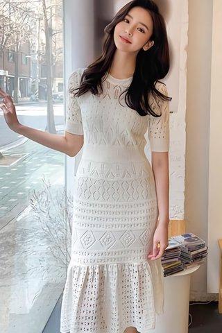 INSTOCK - Agnesa Knit Eyelet Ruffle Hem Dress In White