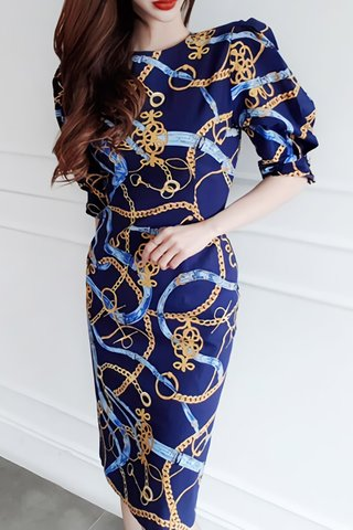 BACKORDER - Aminey Abstract Print Sleeve Dress In Blue