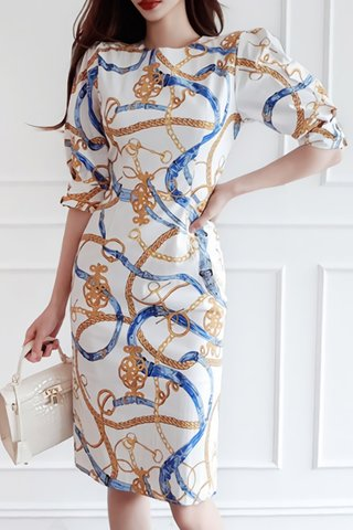 BACKORDER - Aminey Abstract Print Sleeve Dress In White