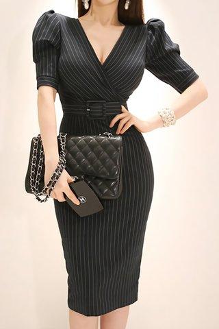 BACKORDER - Chavin Pinstripe Belted Dress In Black