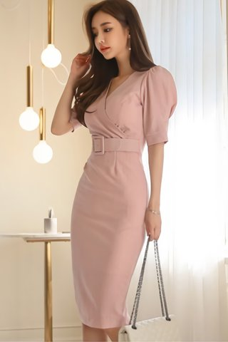 BACKORDER - Chavin Pinstripe Belted Dress In Pink