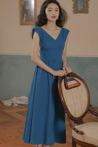 BACKORDER - Elosie V-Neck Bareback Dress In Blue