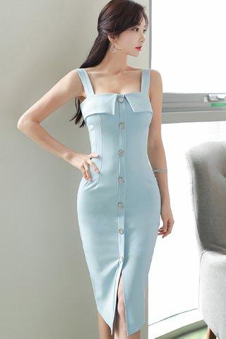 BACKORDER - Irianto Square Neck Single Breasted Dress