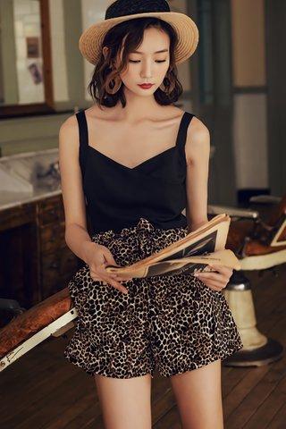 BACKORDER - Jarene Ribbon Tie Short In Leopard Print