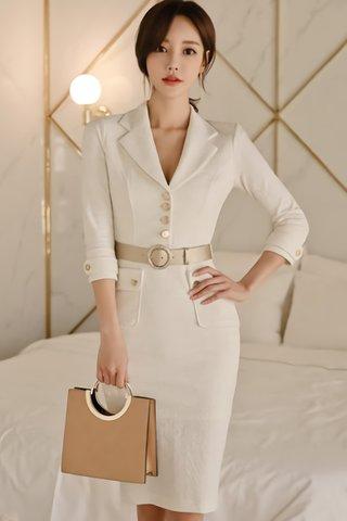 BACKORDER - Jarvine Collar V-Neck Sleeve Dress