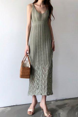 BACKORDER - Katlyn V-Neck Sleeveless Dress In Pale Green