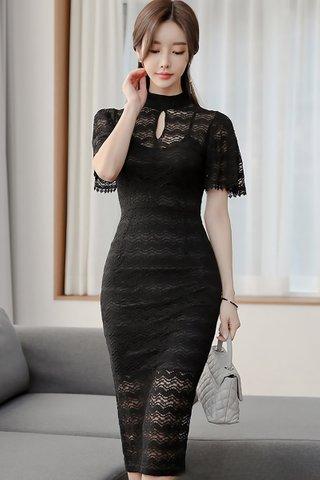 BACKORDER - Kenrine Keyhole Lace Dress In Black