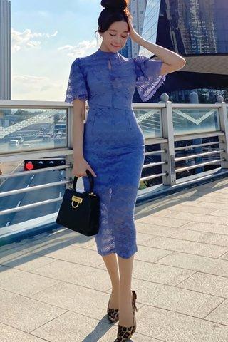 BACKORDER - Kenrine Keyhole Lace Dress In Blue