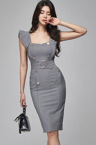 BACKORDER - Kesina Plaid Ruffle Sleeve Dress