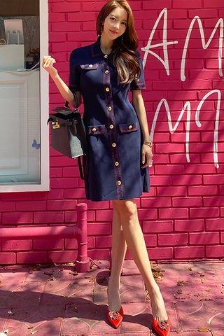 BACKORDER - Klyber Sleeve Single Breasted Dress In Navy Blue