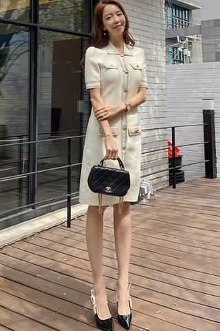 BACKORDER - Klyber Sleeve Single Breasted Dress In Cream