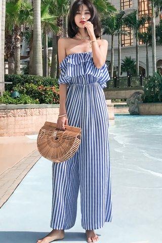 INSTOCK - Kristane Ruffle Stripe Jumpsuit