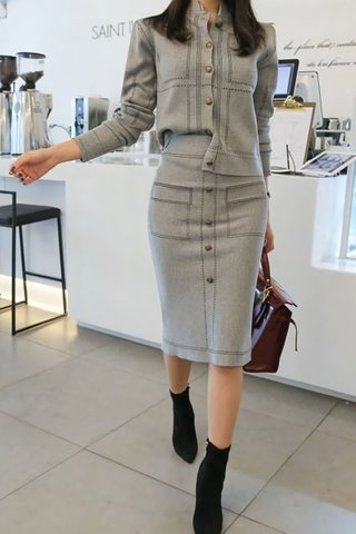 BACKORDER - Metina Sleeve Top With Skirt Set In Grey