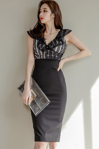BACKORDER - Roylene V-Neck Ruffle Dress