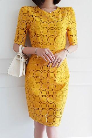 BACKORDER - Sabella Sleeve Eyelet Scallop Hem Dress in Yellow