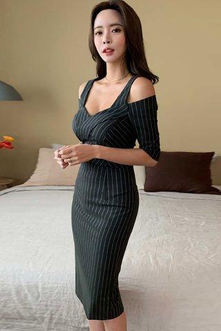 BACKORDER - Sahesa Cold Shoulder Pinstripe Dress
