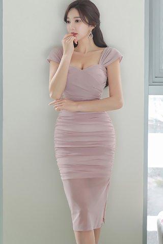 BACKORDER - Selrin Bustier Ruched Mesh Dress