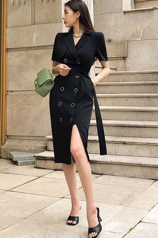 BACKORDER - Althan Double Breasted Slit Dress In Black