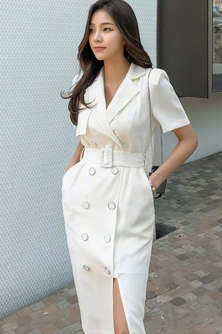 BACKORDER - Althan Double Breasted Slit Dress In White