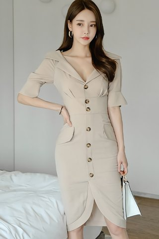 BACKORDER - Cathlyn Collar Sleeve Dress In Beige