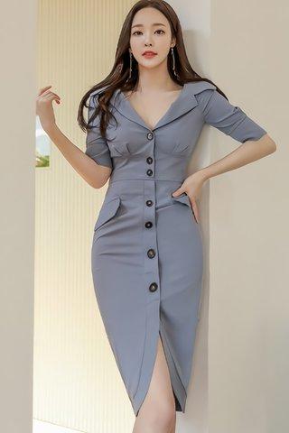 BACKORDER - Cathlyn Collar Sleeve Dress In Cool Blue