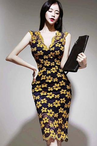 BACKORDER - Cherdy V-Neck Floral Lace Dress In Blue