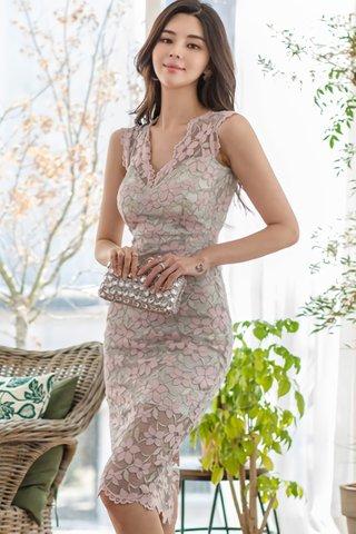 BACKORDER - Cherdy V-Neck Floral Lace Dress In Grey