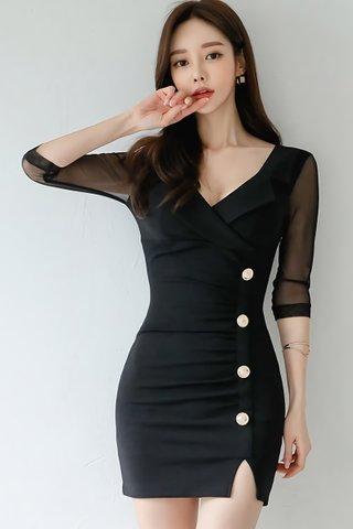 BACKORDER - Clarisse V-Neck Mesh Sleeve Dress