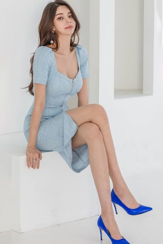 BACKORDER - Dorcy Square Neck Ring Zipper Dress