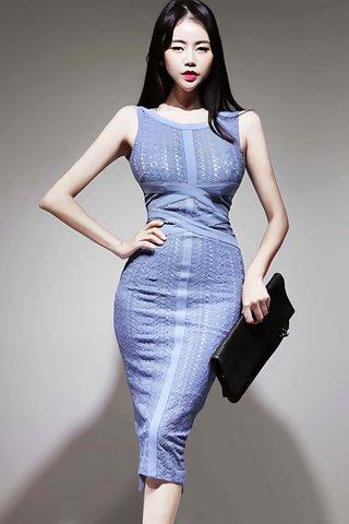 BACKORDER - Elleve Lace Overlay Dress In Light Blue