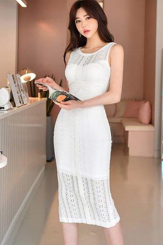 BACKORDER - Elleve Lace Overlay Dress In White