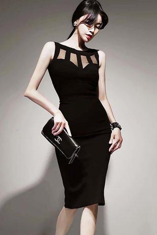 BACKORDER - Fanette Mesh Sleeveless Dress In Black