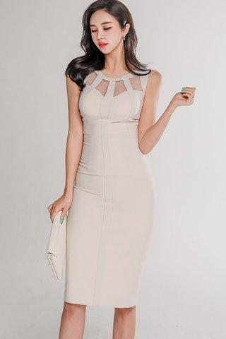 BACKORDER - Fanette Mesh Sleeveless Dress In Cream