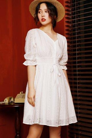 BACKORDER - Feline Sleeve Eyelet Dress