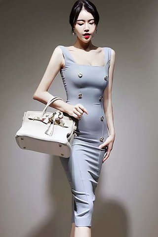 BACKORDER - Flora Double Breasted Square Neck Dress