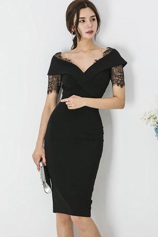 BACKORDER - Jasica Lace Sleeve Dress In Black