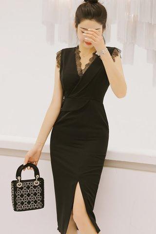 BACKORDER - Jayline V-Neck Lace Dress In Black