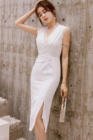 BACKORDER - Jayline V-Neck Lace Dress In White