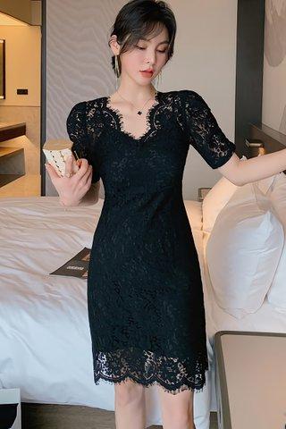 BACKORDER - Karalle Lace Overlay Mini Dress