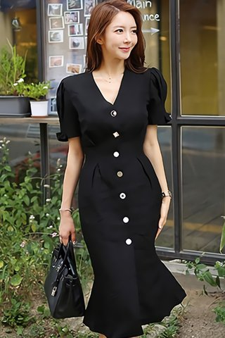 BACKORDER - Maelyn V-Neck Cute Button Dress In Black