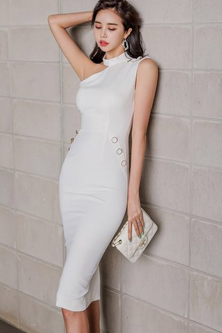 BACKORDER - Mardy One Shoulder Dress In White