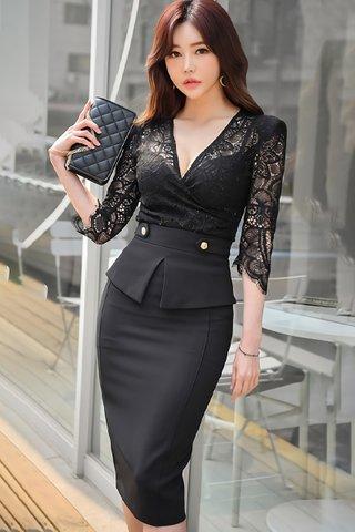 BACKORDER - Meldra V-Neck Lace Top With Skirt Set