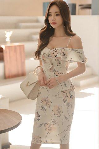 BACKORDER - Melene Cold Shoulder Floral Peplum Dress